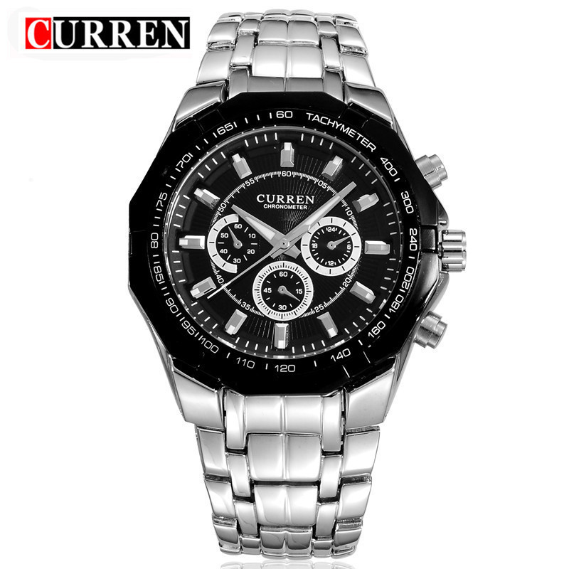 Curren Mens Top Brand Luxury Business Watch Clock Men Stainless Steel Quartz Analog Male Wrist Watch Relogio Masculino xfcs curren luxury brand men watches full stainless steel analog display auto date male fashion quartz watch waterproof xfcs clock