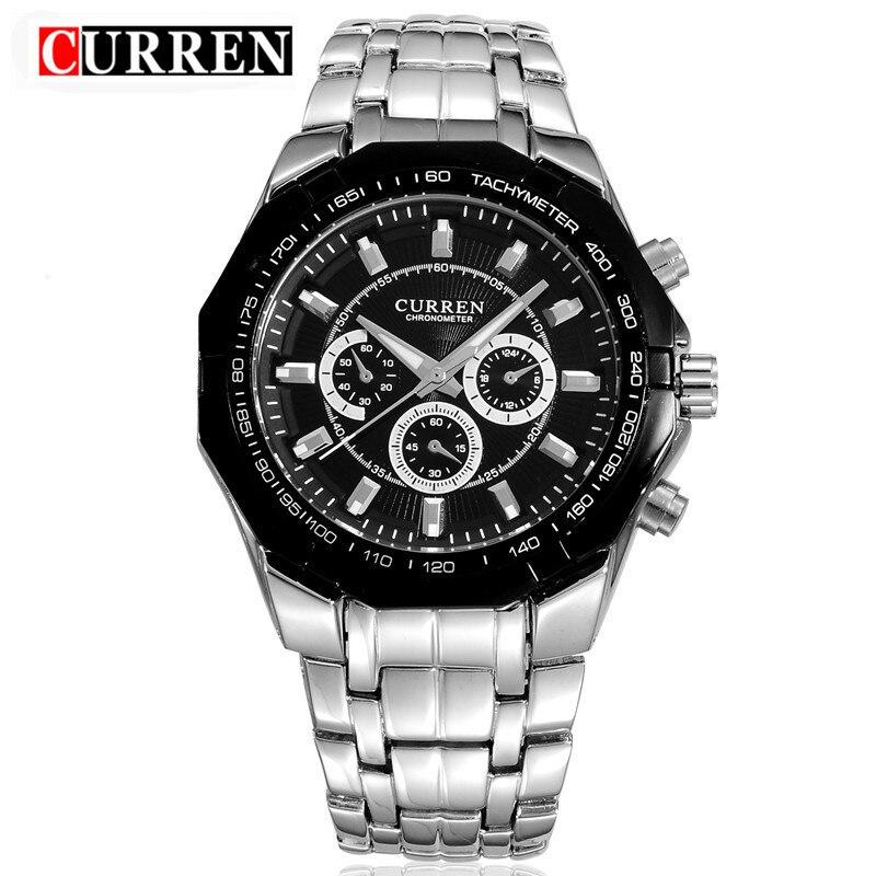 Curren Top marca de lujo de negocios reloj hombres acero inoxidable de cuarzo analógico reloj de pulsera masculino Relogio masculino xfcs