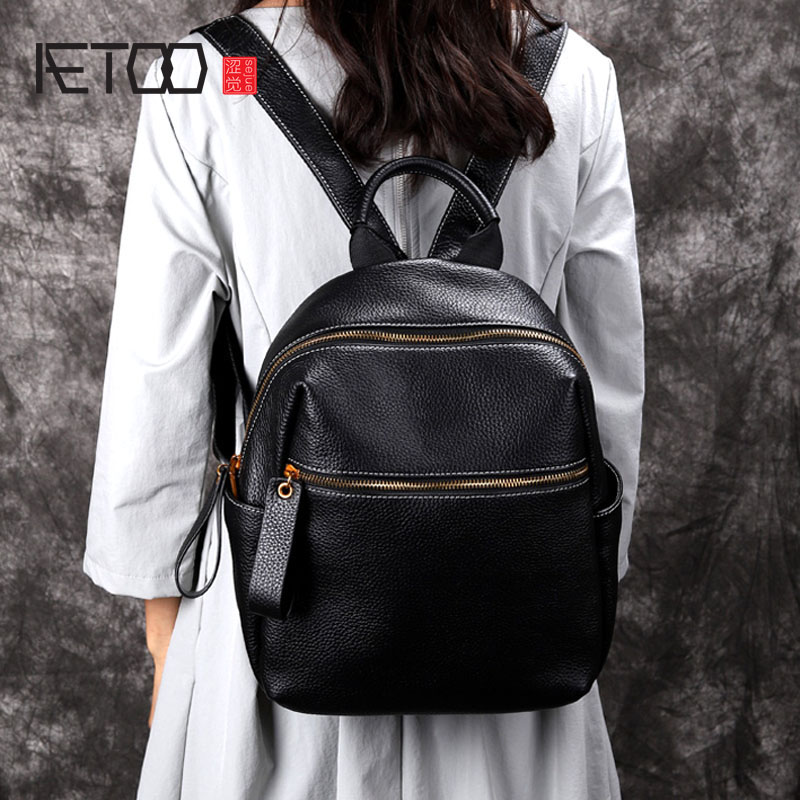 AETOO Original shoulder bag female new bag first layer cowhide Korean version of wild leather backpack women недорого