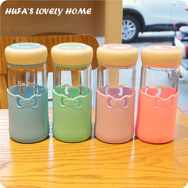My Hot Insulation Glass Bottle With Nice Cover Portable Tea Coffee Water Bottle Drinkware Kettle Home Office caneca