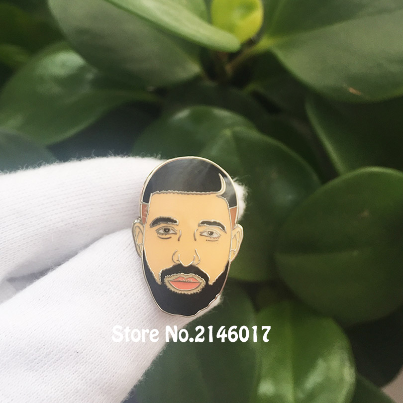 Drake Head Enamel Pin Champagne Musician <font><b>Meme</b></font> Lapel Pins and Brooch Music Metal Badge Art Gift 1'' Popular Craft image