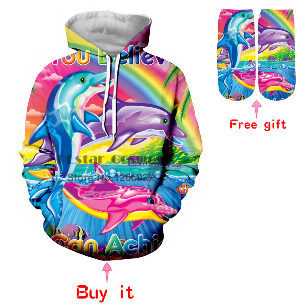 PLstar Cosmos2018 New Personality Creative Fashion Sweat Hoodie Color Dolphin 3D Print Mens Womens Unisex Sweatshirt