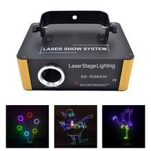AUCD 500 МВт RGB лазерный Малый SD карты программы DMX анимация освещение проектора PRO DJ Show Сканер Свет SD-RGB500