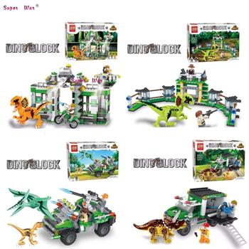 1/Set Monde Jurassique Tyrannosaurus Blocs de Construction Dinosaur Dilophosaurus Fuir Dinosaure Moto briques jouets pour enfants cadeau