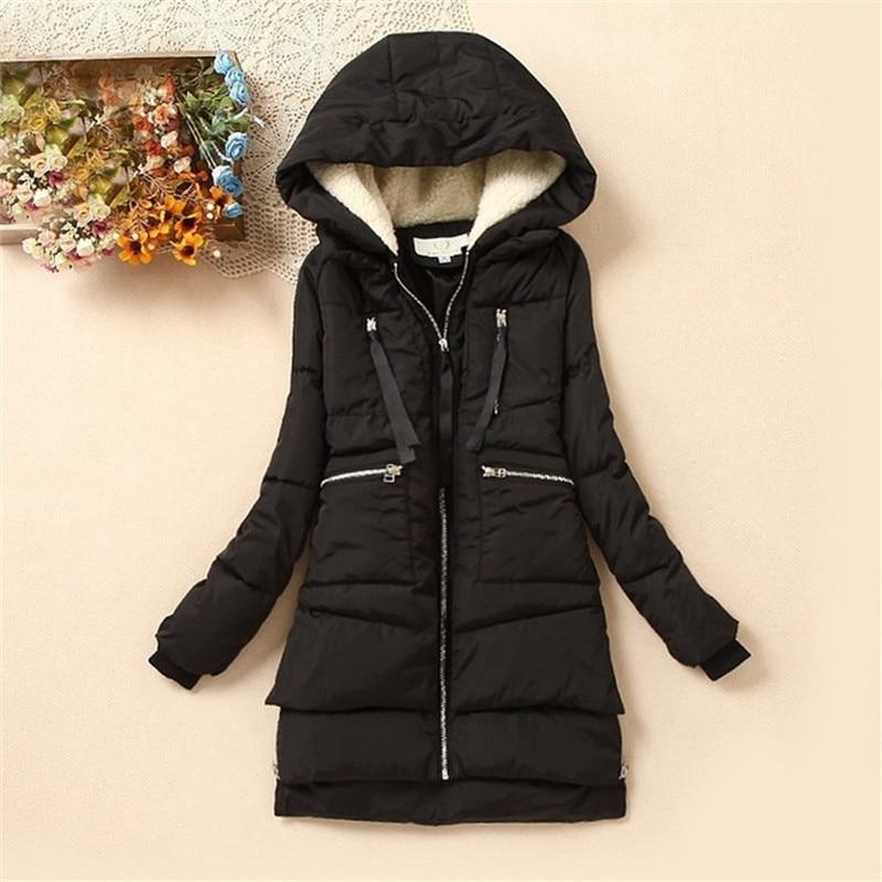 2019 Brand Maxi Winter Coat Wadded Cotton Winter Jacket Women Parka Military Coats Hood Army Green Black Outwear For Women DM013
