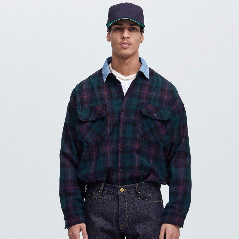 4868b97aa4 Newest fashion urban clothes hip hop men unisex plaid green denim collared  shirt flannel oversized dress shirt streetwear shirts-in Casual Shirts from  Men s ...