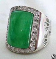 Бесплатная доставка Качество, Модные изображение> красивый благородный натуральный зеленый продажи жадеит Модные мужские кольца Размер 8 12