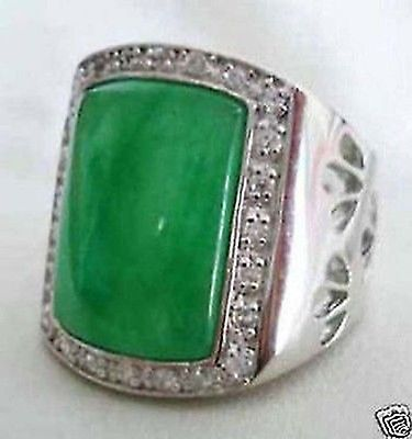 Free shipping Quality Fashion Picture> Beautiful Noble Natural Green Selling Jadeite Fashion men's Rings Size 8 12