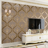 European Retro Damascus Living Room TV Background Wallpaper Embossed Thickened Brown Non woven Bedroom Film and TV Wall Paper