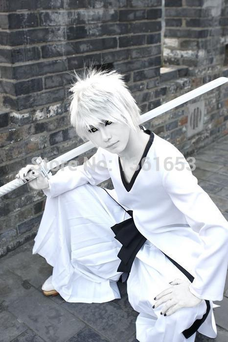 Hot Anime Bleach cosplay Ichigo Kurosaki Bleach Cosplay White Ichigo Kurosaki Cosplay Costume - White Cloak+Pants