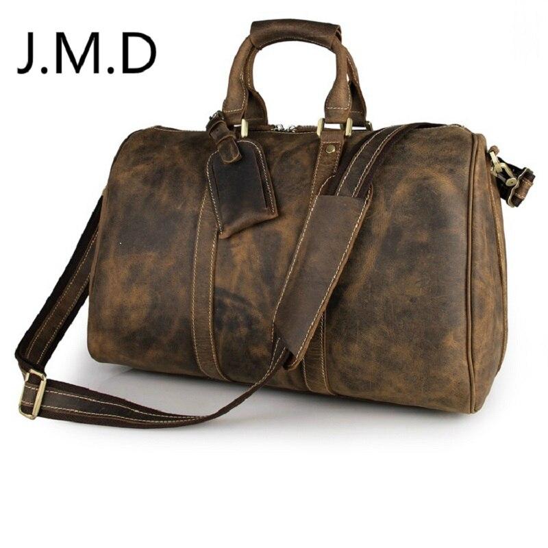 J.m.d 100% moda masculina bolsa de couro crazy horse corpo cruz maleta sling saco ombro mensageiro 7077a