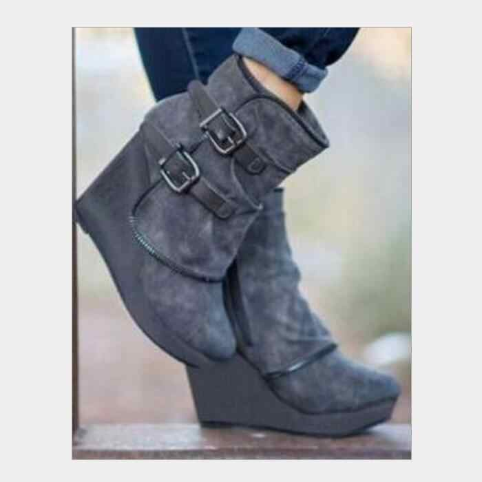 cfc8cdabbf4 sapato feminino ankle boots woman high heels wedges women winter shoes  buckle platform chaussures femme ete martin booty AB0029