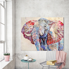 CHENFART Abstract Art Canvas Print Animal Picture Colorful Elephant Oil Painting  For Living Room Home Decor No Frame
