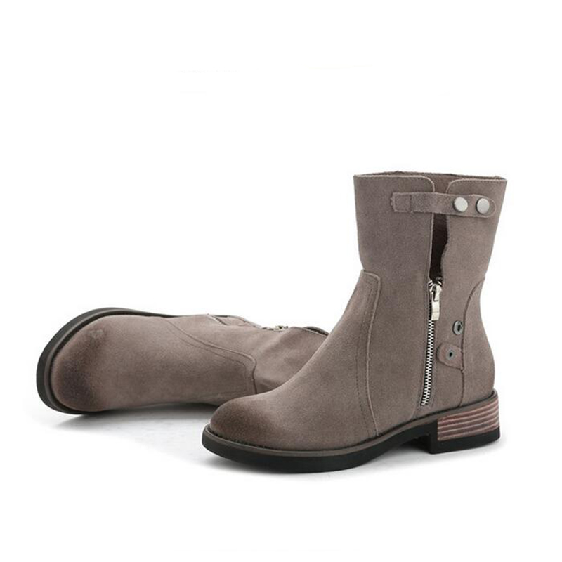 Mujer 2019 Plataforma Retro Zapatos Mujeres Cuero Otoño Genuino Redondo gris Negro Moda Las E De Botas Xp25 Marca Invierno Plana Negro Gris UwU6rxfB