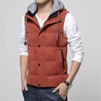 Fashion Brand Men Vest Winter Jacket Slim Fit Male Sleeveless Coat Thick Warm Hat Detachable Hooded