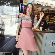 EAD Plaid Splice Spaghetti Strap Mini Dress Summer Vintage Women Chiffon Pink Elegant Off Shoulder Dresses Female Robe
