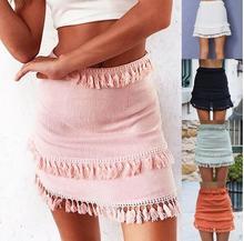 sexy pure color dashing lace splicing tassel mini skirt summer female casual high waist beach patry bodycon short
