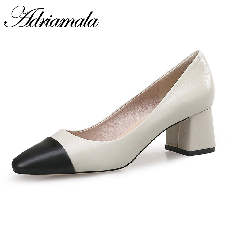 2018 Genuine Leather Classic Office Lady Shoes Concise Slip-on Cow Leather Square Toe New Thick Heels Occupation Shoes Adriamala 247 classic leather