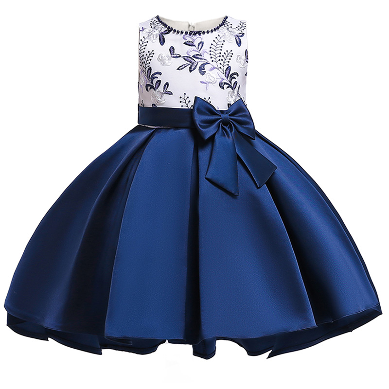 Embroidered Bow Flower Girl Dresses First Communion Dresses Kids Children's Clothing Baby Fluffy Costume Ladies Clothes T5087