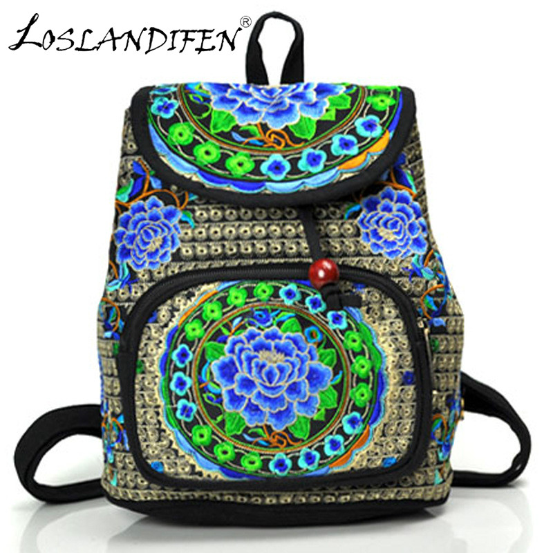 New National Style Embroidery Bag Canvas Embroidered Backpack Chinese Style Women Bags Flower Embroidery Student School Bag