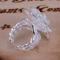 Fashion Silver Plated Hollow Out Flower Opening Flower Ring for women