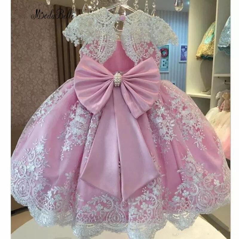 modabelle 2019 Pink   Flower     Girl     Dresses   Galajurk Meisje Appliques Lace Pearls A-line For Kids Vestidos Primera Comunion