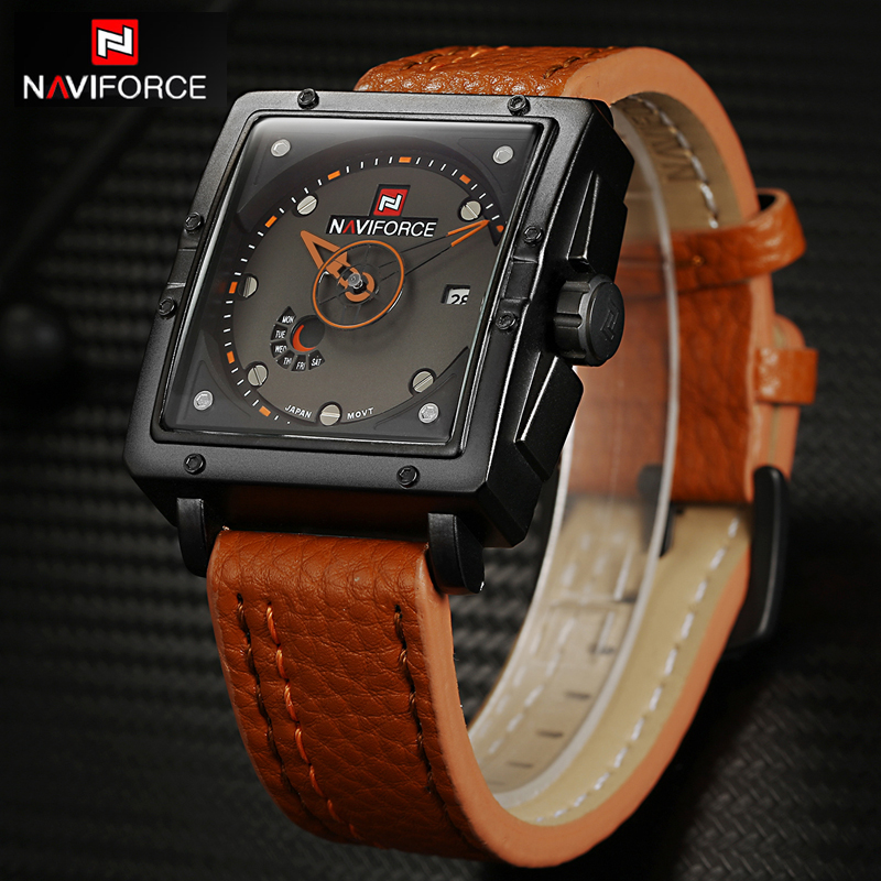 NAVIFORCE Mens Watches Top Brand Luxury Casual Quartz Watch Dive Leather Sport Wristwatch relojes hombre Relogio masculino Clock
