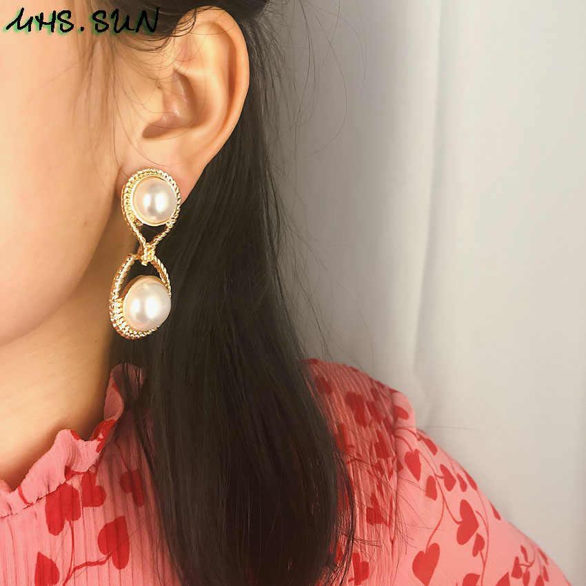 MHS 。太陽最新の女性真珠ドロップイヤリングエレガントなファッションブラブライヤリングジュエリーのためのヴィンテージデザインパーティーアクセサリー