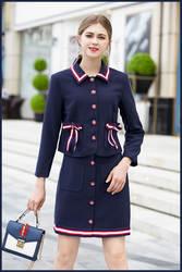 Европейский стиль Элегантные Женская юбка костюмы 2018 осень взлетно-посадочной полосы бабочкой Рубашки Топы + A-line юбка комплект из двух
