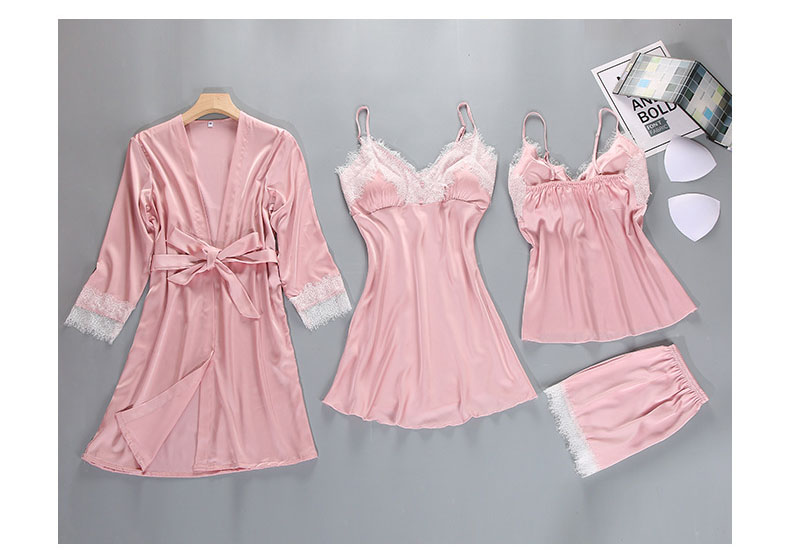 Queenral 4PCS Pajamas Set For Women Sexy Lingerie Long Sleeve Bathrobe With Pyjamas Sets Home Suit Spring Nightwear Nighties