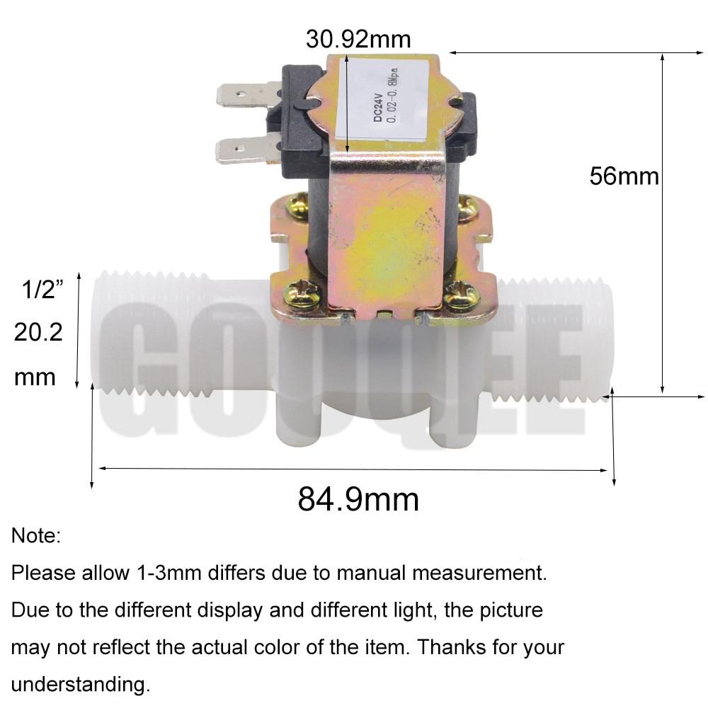 "1/2"" Plastic Solenoid Valve 12V 24V 220V Magnetic Washing Machine Dispenser Drinking Water Pneumatic Pressure Controller Switch 3"