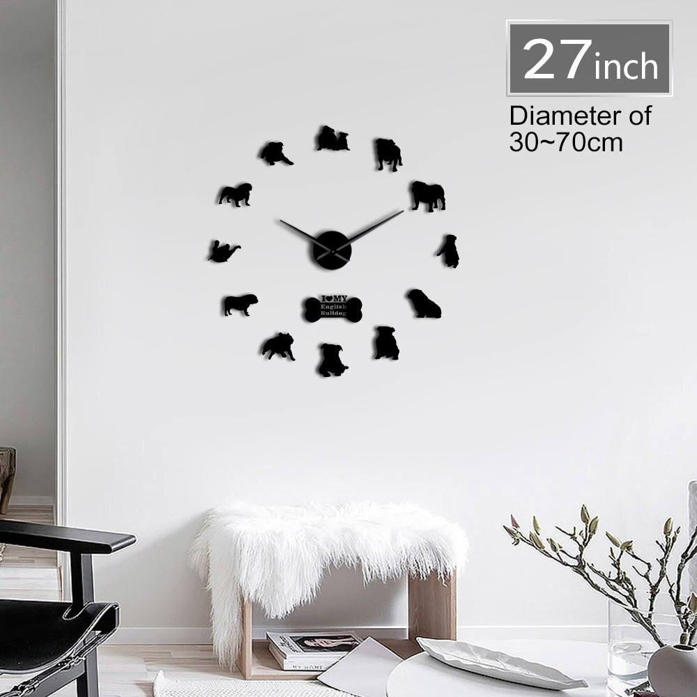 English Bulldog Contemporary 3D DIY Wall Clock With Cute Bone British Bulldog Dog Breeds Pet Shop Mirrors Surface Clock Watch