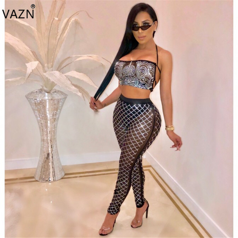 VAZN 2019 New Novelty Sexy Club Women 2-Pieces Backless Sets Print Halter Sleeveless Hollow Out Long Pant Skinny Jumpsuits MS560