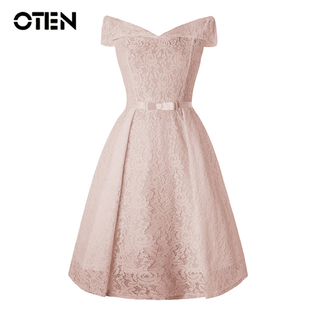 bf61425d9d4 US $19.16 29% OFF|OTEN ladies lace dresses 2018 Women Summer Sexy Off  shoulder V Neck Retro 50s 60s Knee Length evening party vintage White  dress-in ...