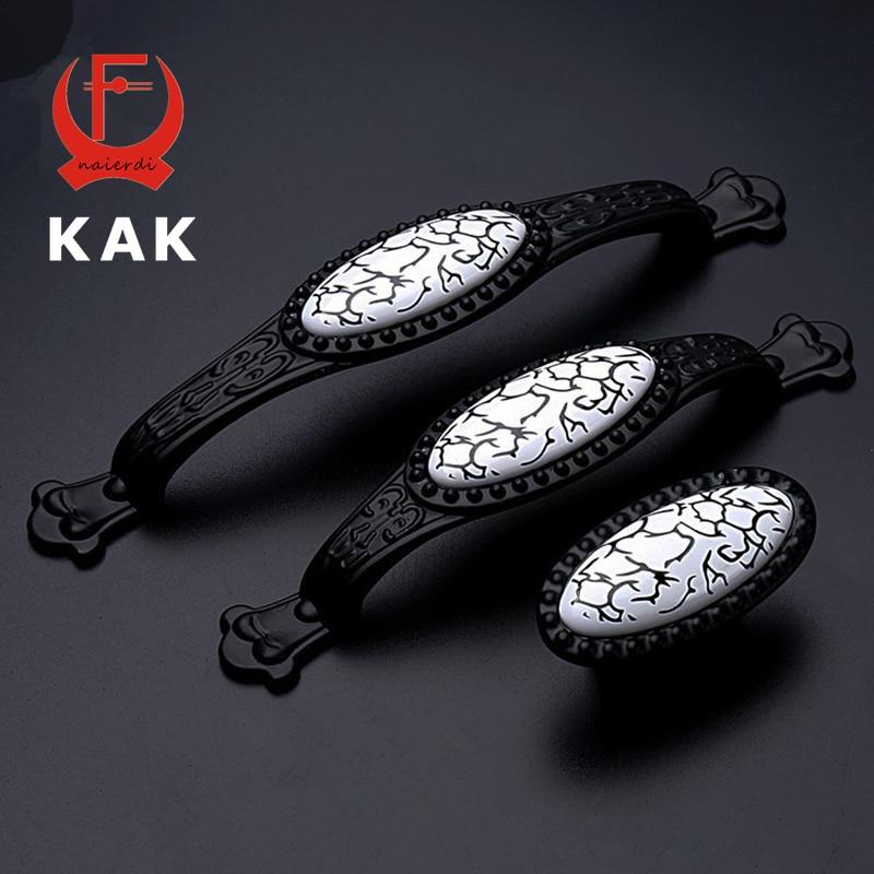 KAK Black Emboss Design Wardrobe Door Knobs Handles Marble Ceramic Cabinet  Drawer Knobs American Style Furniture