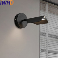 IWHD Angle Adjustable Wall Sconce Mirror Led Wall Lamp Modern Fashion Iron Bedroom Beside Dimmable Hanglamp Touch switch Lampara