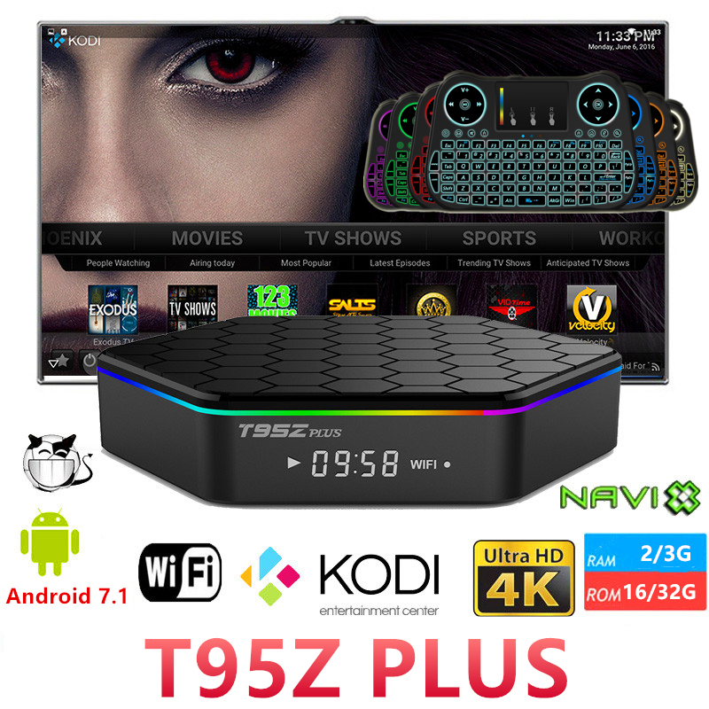 T95Z Plus Android7.1 Smart TV BOX 2/3G RAM 16/32G ROM Amlogic S912 Octa Core KD 5G WiFi 1000M 3D 4K Media player Set top box