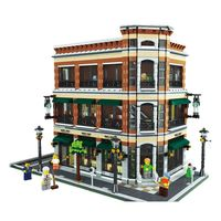 New LEPIN 15017 4616Pcs Creator Starbucks Bookstore Cafe Model Building Kits Blocks Bricks Compatible Toys Gift
