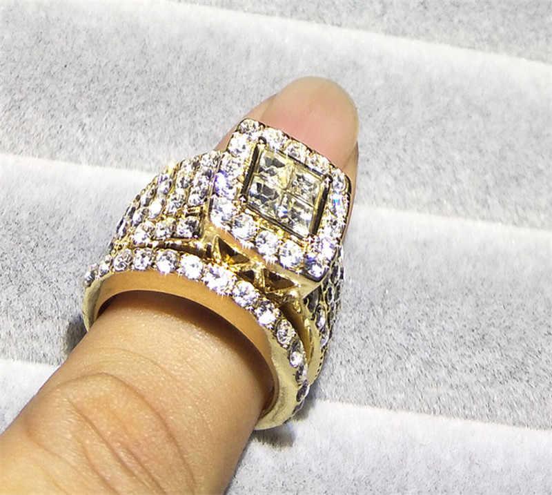 Уникальный дизайн большие камни проложили юбилей подарок для любви Анель Anillos Полный Кристалл кольцо свадьбы квадратный CZ золотые кольца