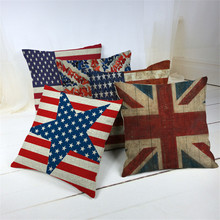 45*45 cm mezcla de lino lanzar fundas de almohada estuches coloridos dormitorio decorativo Vintage bandera Reino Unido EE. UU. Cojín económico cubre union jack
