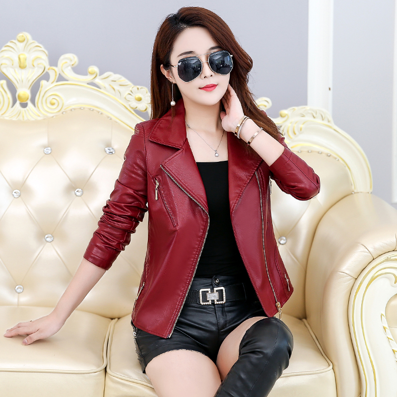 Leather     suede   faux   leather   jacket Women zipper belt moto jacket Cool streetwear ladies'   leather   jackets winter coat
