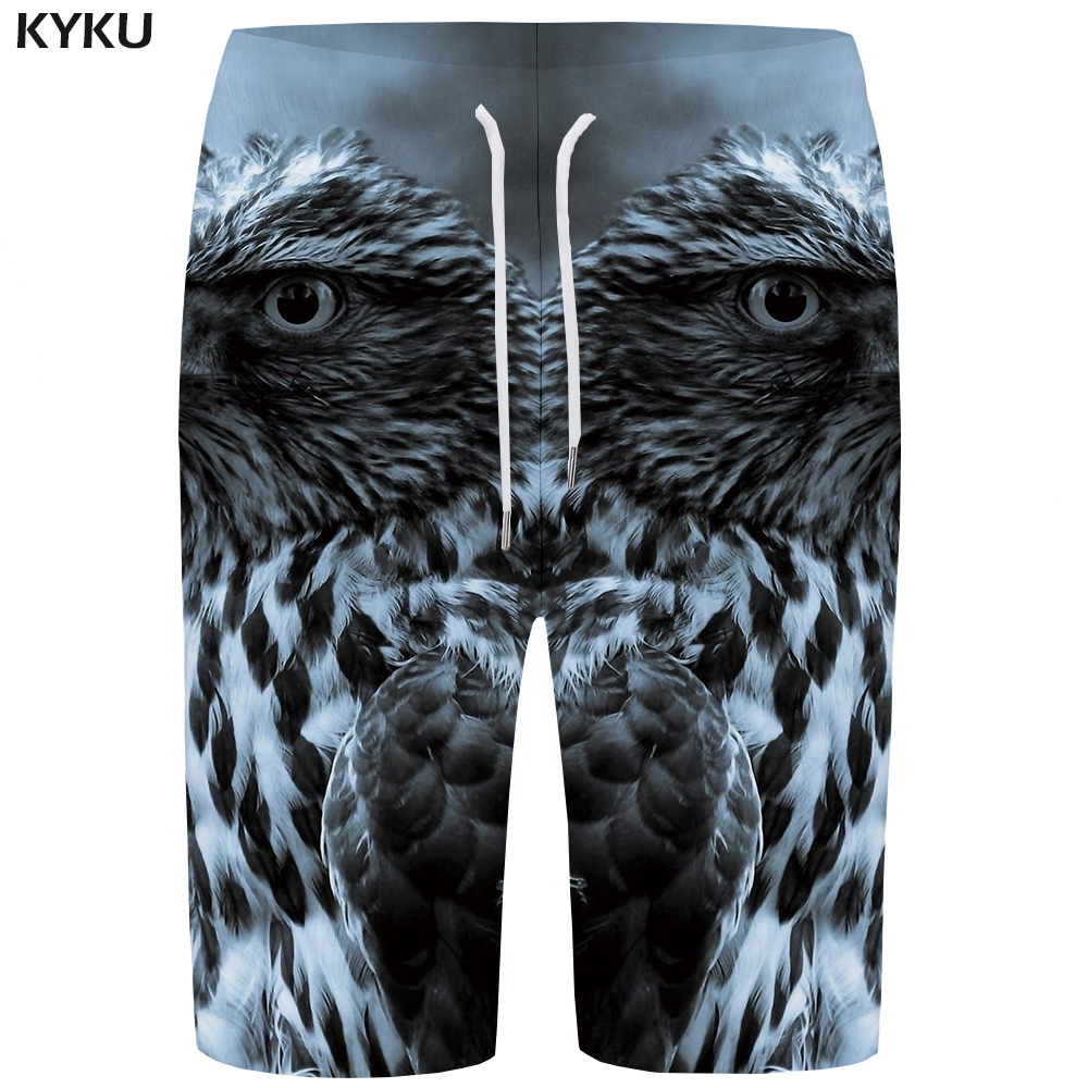 KYKU Eagle   Board     Shorts   Men Gray Beach   Short   Pants Sky Feather 3d Printed Boardshorts Phantom Animal Mens   Shorts   Summer New