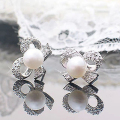 Fashion Full Rhinestone White Butterfly Bow Imitation Pearl Stud Earrings for Women Jewelry