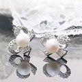 Moda Rhinestone Lleno Mariposa Blanca Bow Imitación de la Perla Stud Pendientes para Las Mujeres Joyería