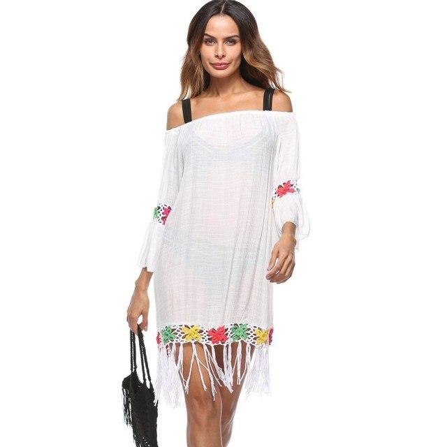 7d5a95214ef22 Kaftan Beach Wear Cover Up Beachwear For Women Shirt Robe De Plage Sarong  2018 New Sunshade Animal Acrylic Sierra Surfer