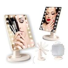 Регулируемое зеркало для макияжа 22 светодиодный светильник сенсорный экран Настольный макияж 1X 10X лупа USB кабель или батарея использовать зеркало для макияжа