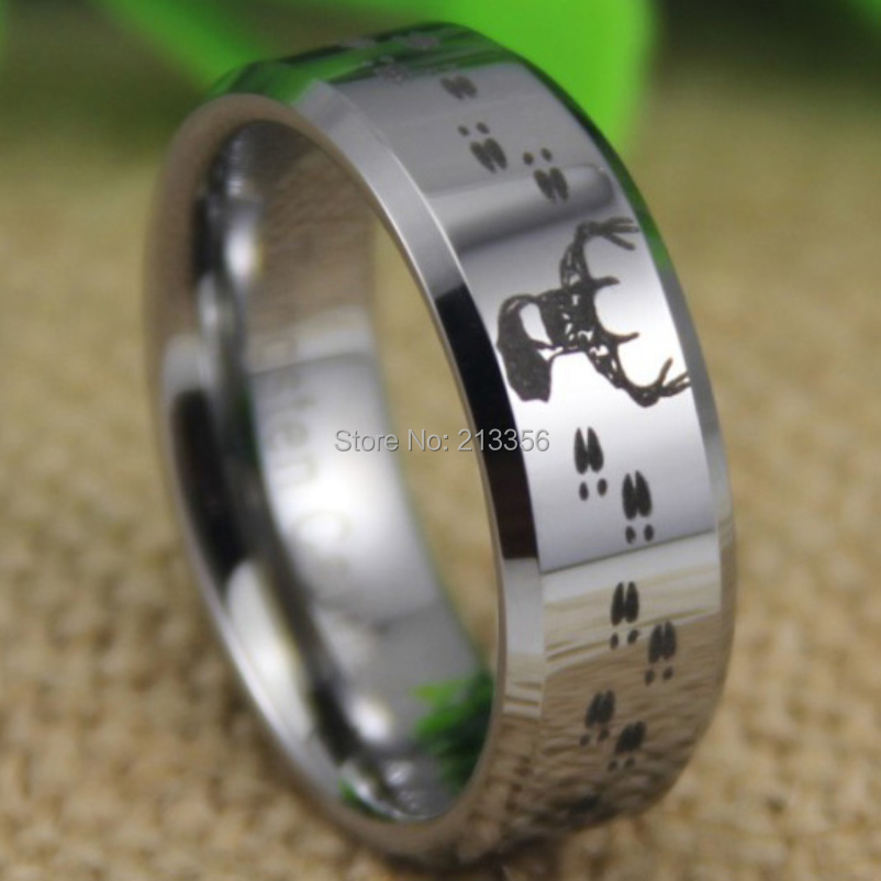 Free Shipping USA UK CANADA RUSSIA Brazil Hot Selling 8MM Hunting Buck Deer  Tracks Silver Bevel The Lord Tungsten Wedding Ring b88ddd0d7