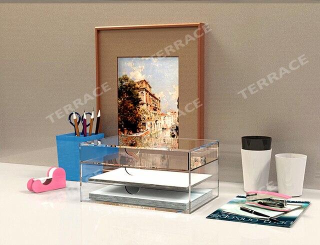 Papeterie boîte de tiroir de rangement acrylique maison bureau