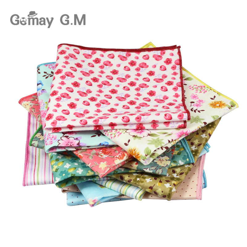 Vintage Styles 100% Cotton Handkerchief Floral Printed Pocket Square Wedding Party Suit Hankies For Men Brand Pocket Towel