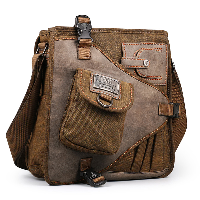 2017 Ruil Retro Canvas Shoulder Bags Multifunction Man Leisure Tooling Messenger Package Vintage Handbag European American
